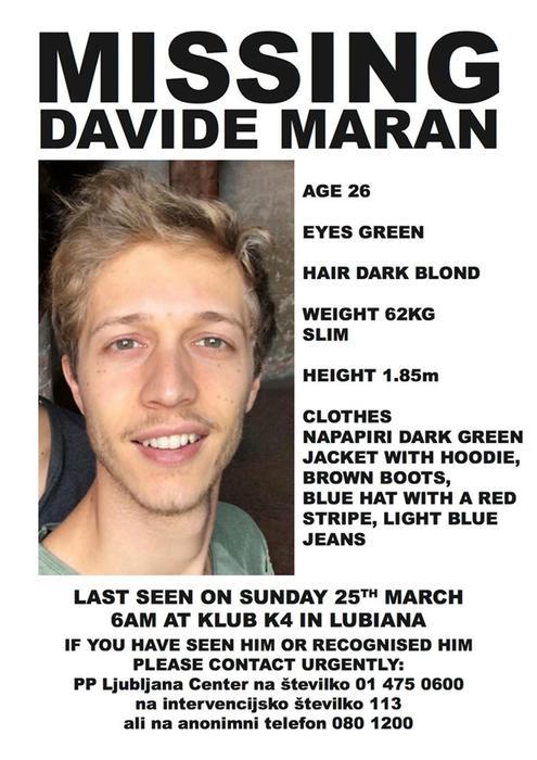 Davide Maran scomparso in Slovenia