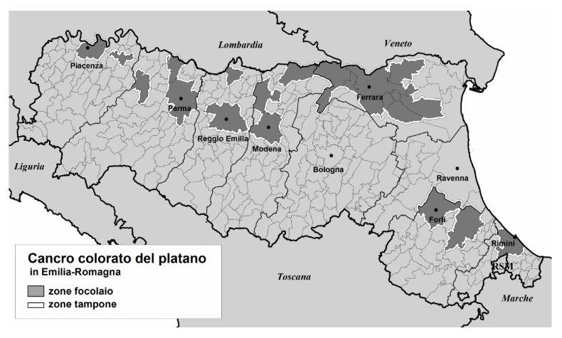 regioneemiliaromagna-mappa-comuni-focolaio-malattia-platano-novembre-2018